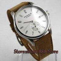 42mm Parnis branco Dial data Horas Aparelho 24 ST 1731 Homens Automáticos Movimento do Relógio