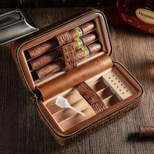 лучшая цена COHIBA Cigars Box Cedar Wood Cigar Humidor Travel Portable Leather Cigar Case Humidifier Humidor Box