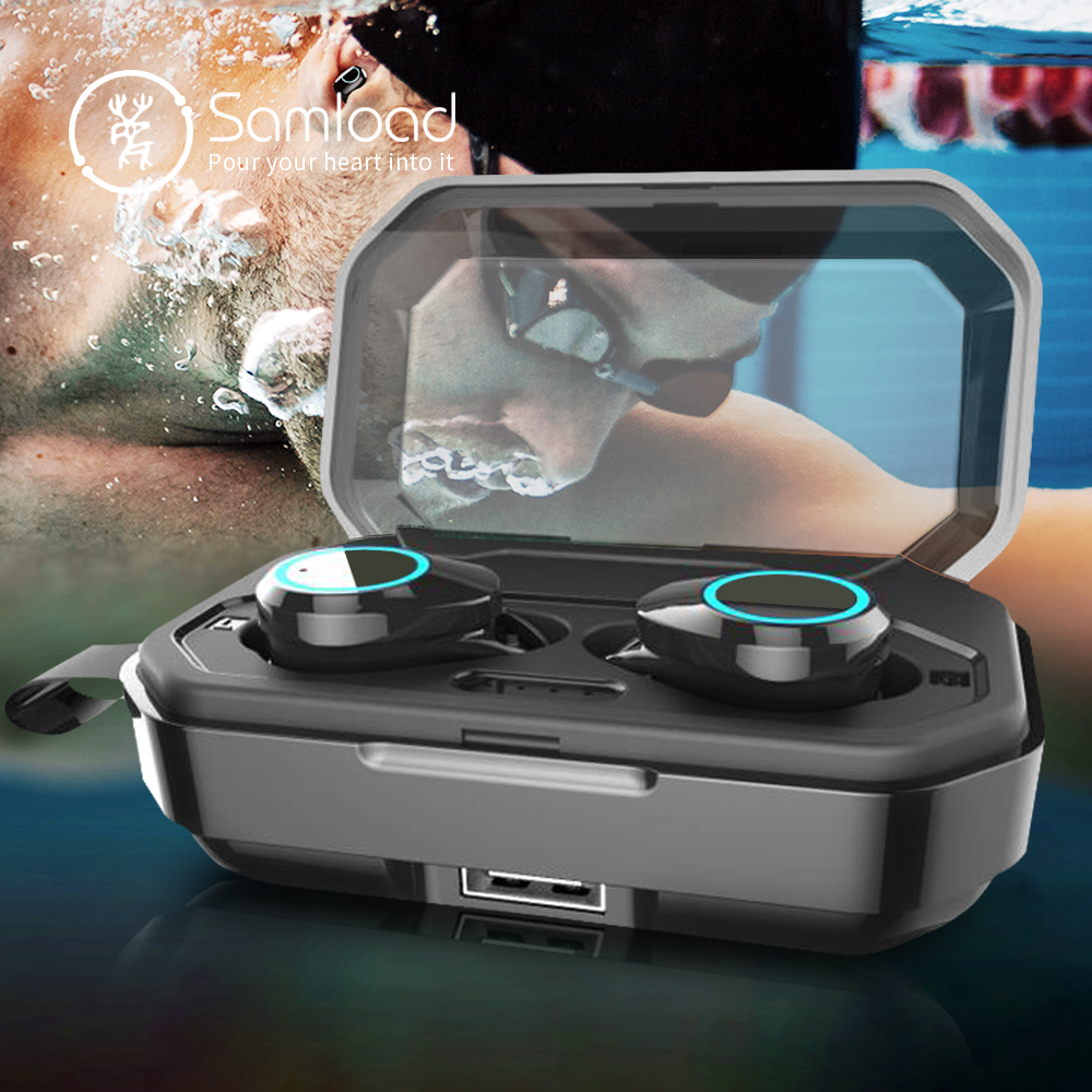 Samload Bluetooth 5.0 écouteurs sans fil casque stéréo dans l'oreille écouteurs étanche casque jeux écouteur pour iPhone 6 7 8 X Xs