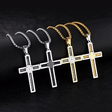 29x49mm Stainless Steel Cross Pendants Necklace with Twisted Cable Rope Inlay – Silver, Gold