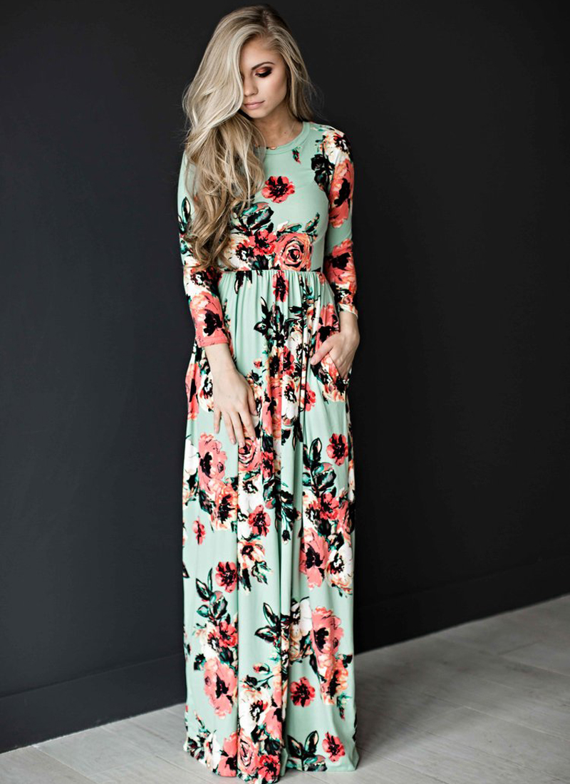Floral Printed Three Quarter Sleeve Loose Maxi Boho Beach Dress