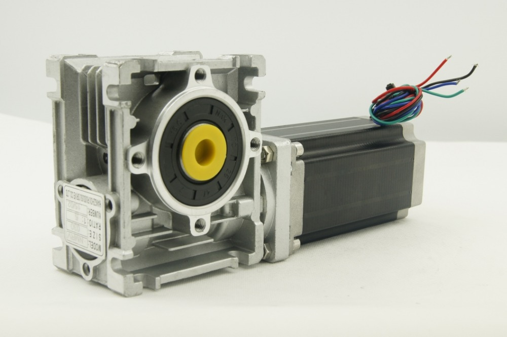 Nema23 stepper motor 3.0NM with worm gearbox 5:<font><b>1</b></font>/7.5:<font><b>1</b></font>/10:<font><b>1</b></font>/15:<font><b>1</b></font>/20:<font><b>1</b></font>/25:<font><b>1</b></font>/30:<font><b>1</b></font>/40:<font><b>1</b></font>/50:<font><b>1</b></font>/60:<font><b>1</b></font>/<font><b>80</b></font>:<font><b>1</b></font> Ratio and output shaft image