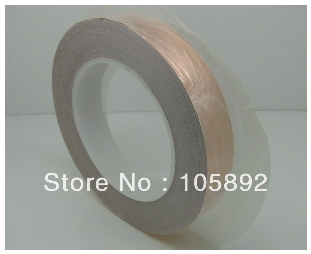 Free Shipping 15mm x 30M x 0.06mm Copper Foil Conductive Adhesive and Single Conductive COPPER FOIL TAPE