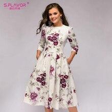 S.FLAVOR kobiety Floral wydrukowano linii Midi sukienka w stylu Vintage Slim O neck Vestidos dla kobiet damskie sukienki casualowe na jesień
