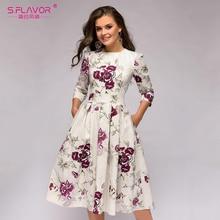 S. GESCHMACK Frauen Floral Bedruckte A linie Midi Kleid Vintage Dünne Oansatz Vestidos Für Weibliche Frauen Herbst Casual Kleider