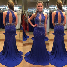 CYF69 High Neck Long Mermaid Prom Dresses Vestido De Festa 2016 Royal Blue Beaded Evening Gown Sparkly Vestidos para festa