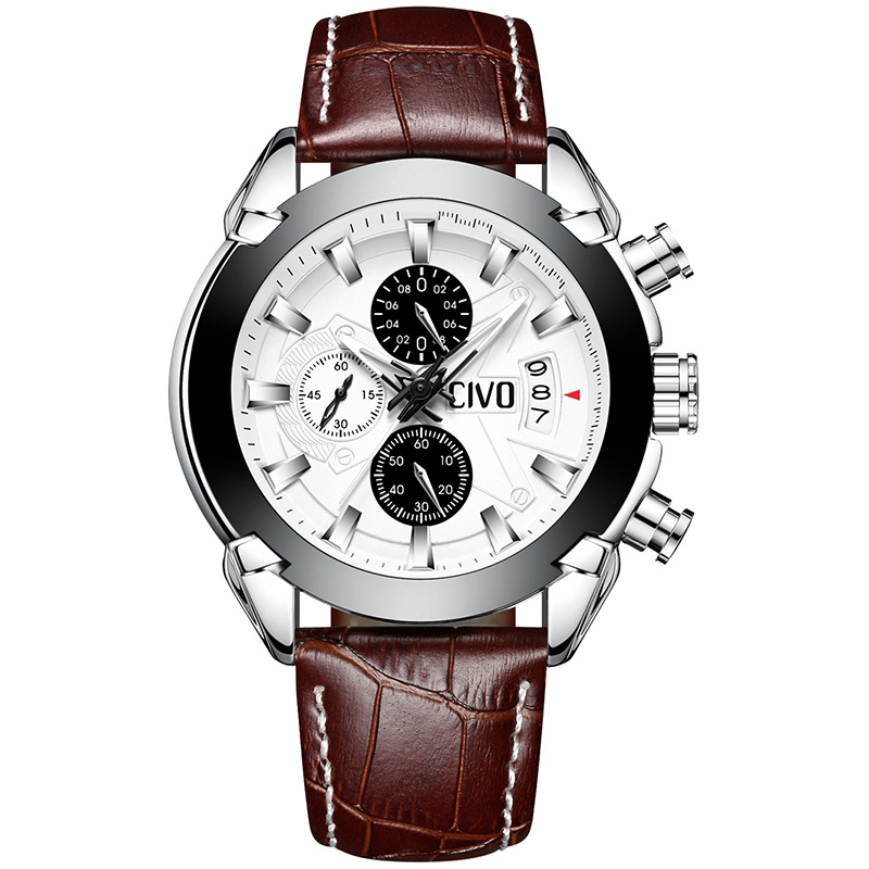 Genuine Leather Sport Watch Men CIVO Waterproof Chronograph Date Calendar Analogue Watches For Men Teenager Student Quartz Watch fashion casual watch men civo waterproof date calendar analogue quartz men wrist watch brown genuine leather watch for men clock