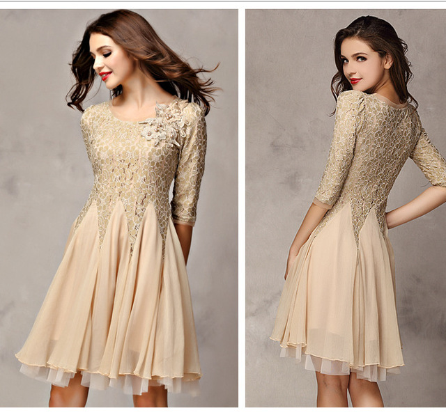 299de8777f Elegant New Round Neck Lace A-line Dress Middle Sleeve Knee-Length Chiffon  Embroidery Skater Dress S-XL High Quality