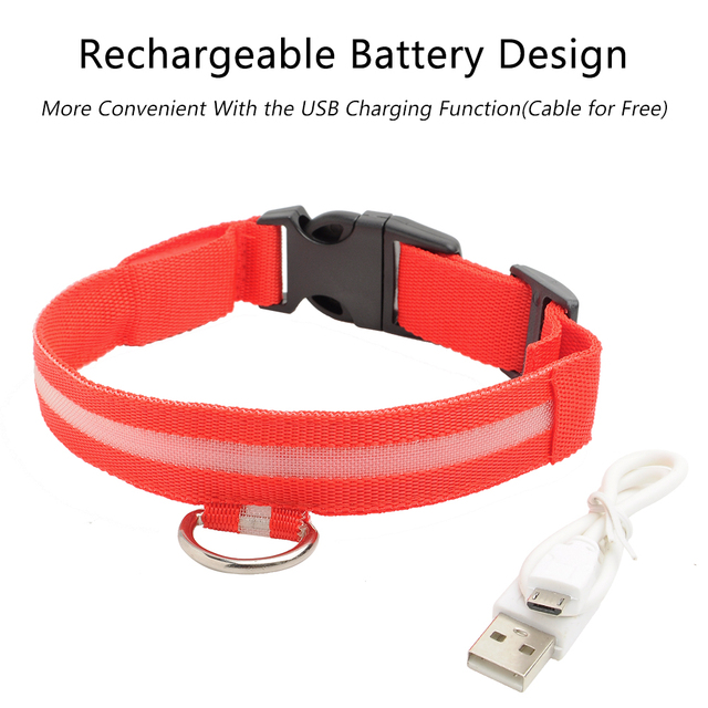 USB Charging LED Dog Collar Anti-Lost Nylon Light Collar For Dogs Puppy at Night Cool Pug Dog Supplies Pet Products Accessories 3