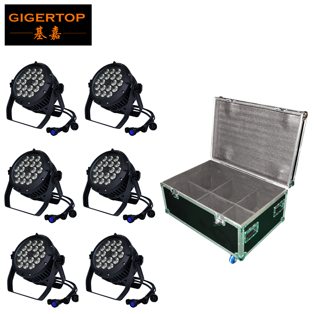 Flightcase 6IN1 Pack Stage Lighting 18x18W RGBAW Purple Waterproof Led Par Cans Casting Aluminum Housing Outdoor Club/Pub Disco