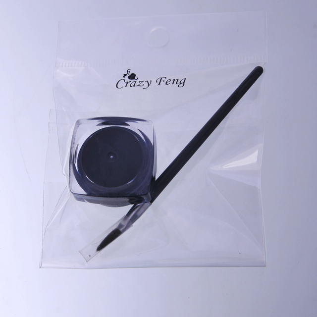 Cosmetic Waterproof Eye Liner Pencil Make Up black Liquid Eyeliner Shadow Gel Makeup + Brush Black maquiagem Free Shipping 4