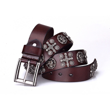 Cross Luxury Top Layer Rivet Punk Rock Belt Skull Buckle Cowskin Genuine Leather Handcrafted Cintos Masculinos Men Hip Hop Strap