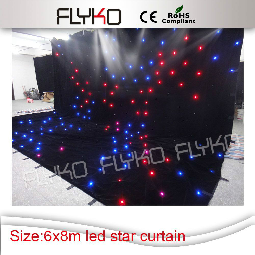 good price 6mx8m Led star curtain/disco sound light backdrops with controller