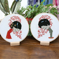 2pcs/set DIY Embroidery Kits with 30cm Bamboo Hoop for Beginner Handmade Needlework Cross Stitch Embroidery Painting Home Decor