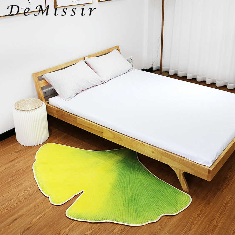Sector Ginkgo Leaf 3D Print Carpet For Living Room Yello Green Chair Pad Home Decorate Children Kids Play Mat Floor Rugs