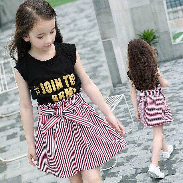 4114d0f6898 Kids' Wearing Summer Vest T-Shirt Two-piece Striped Skirt Set Teenager  Girls Clothing Sets Sleeveless Tees+Skirt Suit Size 10 12