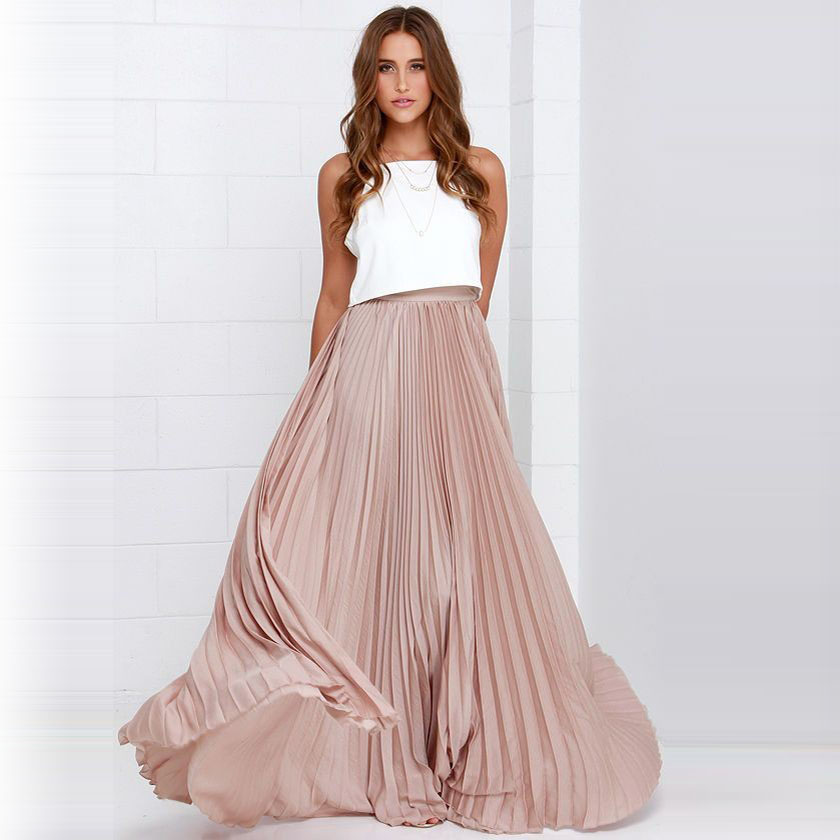 Pretty Pink Pleated Chiffon Long Skirts For Fashion Women Floor Length Maxi Skirt Zipper Style High