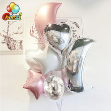 9 stücke Big Mond Gold silber rosa Folie ballon 18 inch herz stern Helium Globos geburtstag party hochzeit Schmücken Konfetti luftballons