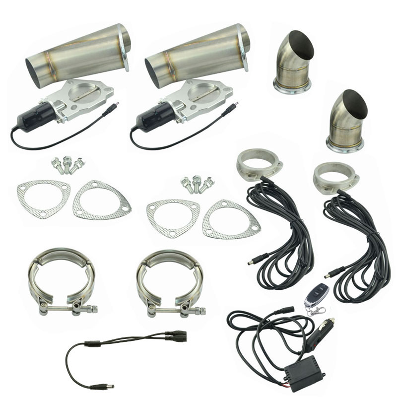 2.25 Inch Remote Control Cut Out Stainless Steel Y Headers Catback Pair Electric Exhaust Cutout Pipe Kit