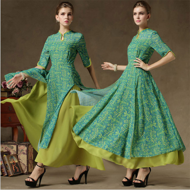 76a35fde92 Great Frock Classic Vintage Ladies Pleated Floral Printed A Line Long Maxi  Lime Green Casual Dinner Double Layer Chiffon Dress