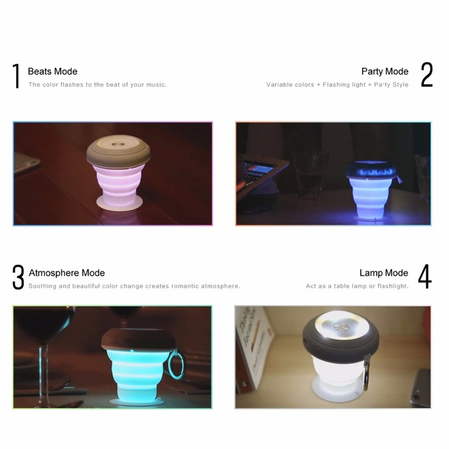 ROCK Pocket Party Bluetooth Speaker with Colorful Led Light Mini Portable Speaker Wireless Strong Bass Audio player