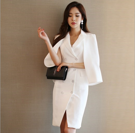 2 Piece Outfits For Women Cape Cloak Blazer And Double Breasted