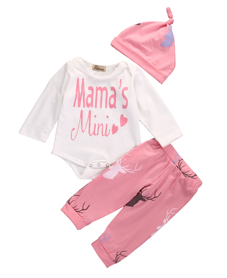2017 Newborn MAMA Baby Boy Girl Clothes 3Pcs Long Sleeve Bodysuit Romper + Pants + Hat Xmas Infant Outfits Sets Drop Shipping 2017 hot newborn infant baby boy girl clothes love heart bodysuit romper pant hat 3pcs outfit autumn suit clothing set
