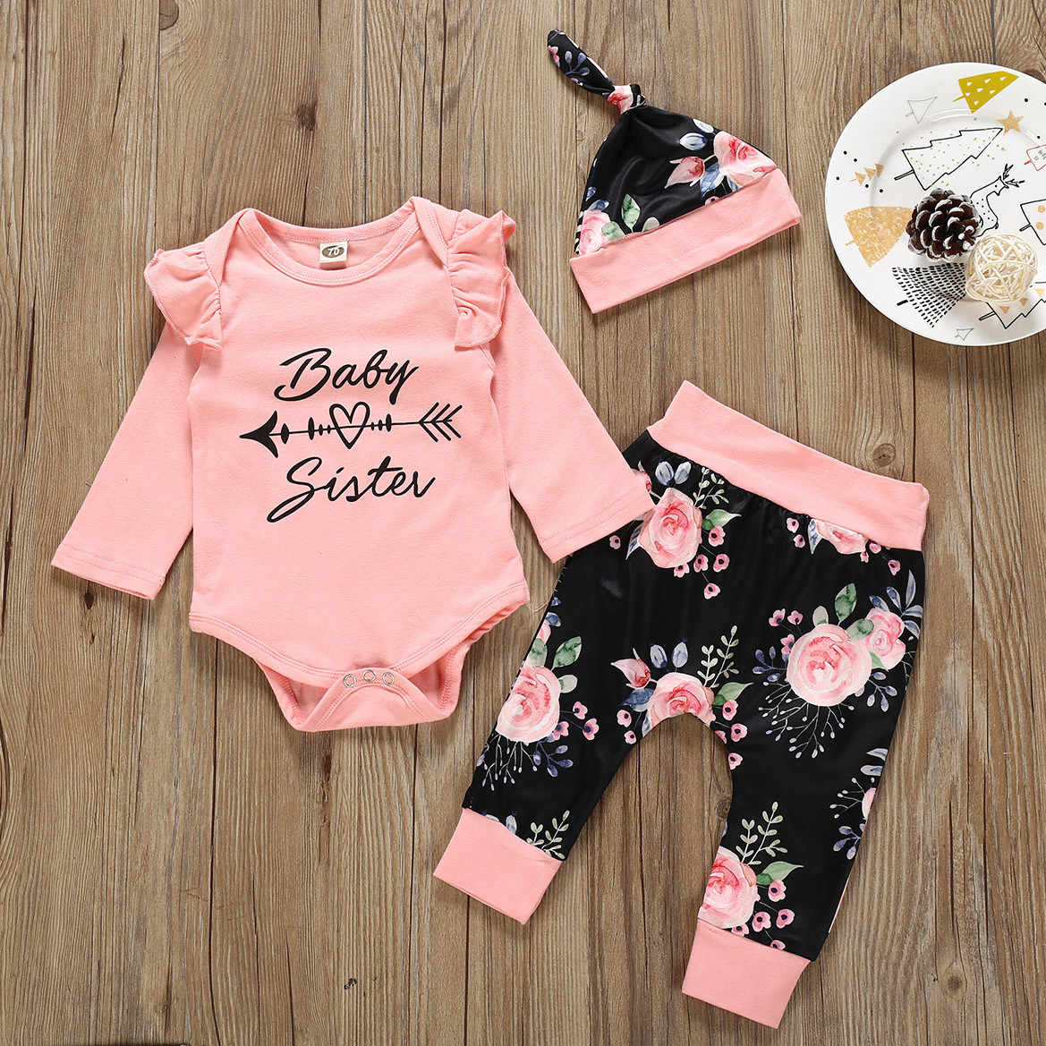Toddler Infant Baby Boy Girl clothes Outfits Autumn Letter Romper+Print Pants+Cap Girls Outfits clothes Set roupa infantil 2019