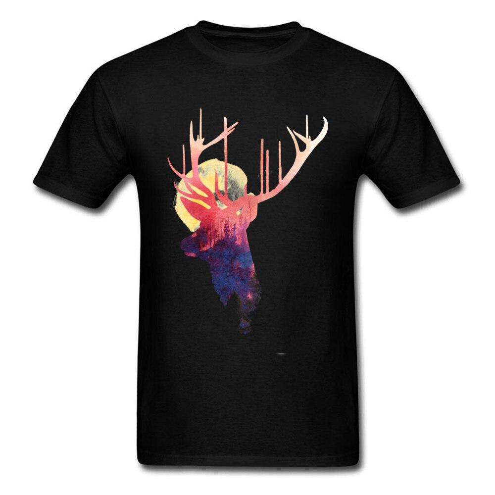 Deer & Burning Sun 2018 Men T-shirt Watercolor Art Design Fashion Black T Shirts O-neck Cotton Tops Custom For Adult