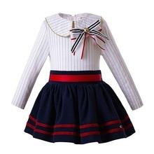 adef069d9 Pettigirl venta al por mayor nuevo moda niñas conjunto de ropa de manga  larga blusa de rayas + azul falda niños trajes G-DMCS106.