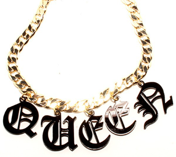 30N Laser cut Fashion Acrylic Necklaces Pendants QUEEN letters