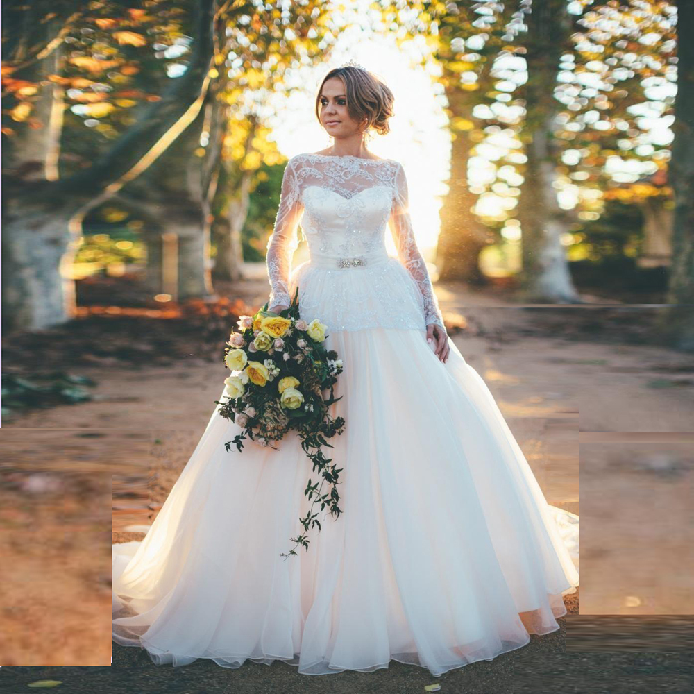 The Knot Wedding Gowns: Fantastic Long Sleeve Wedding Dress With Open Back Ball