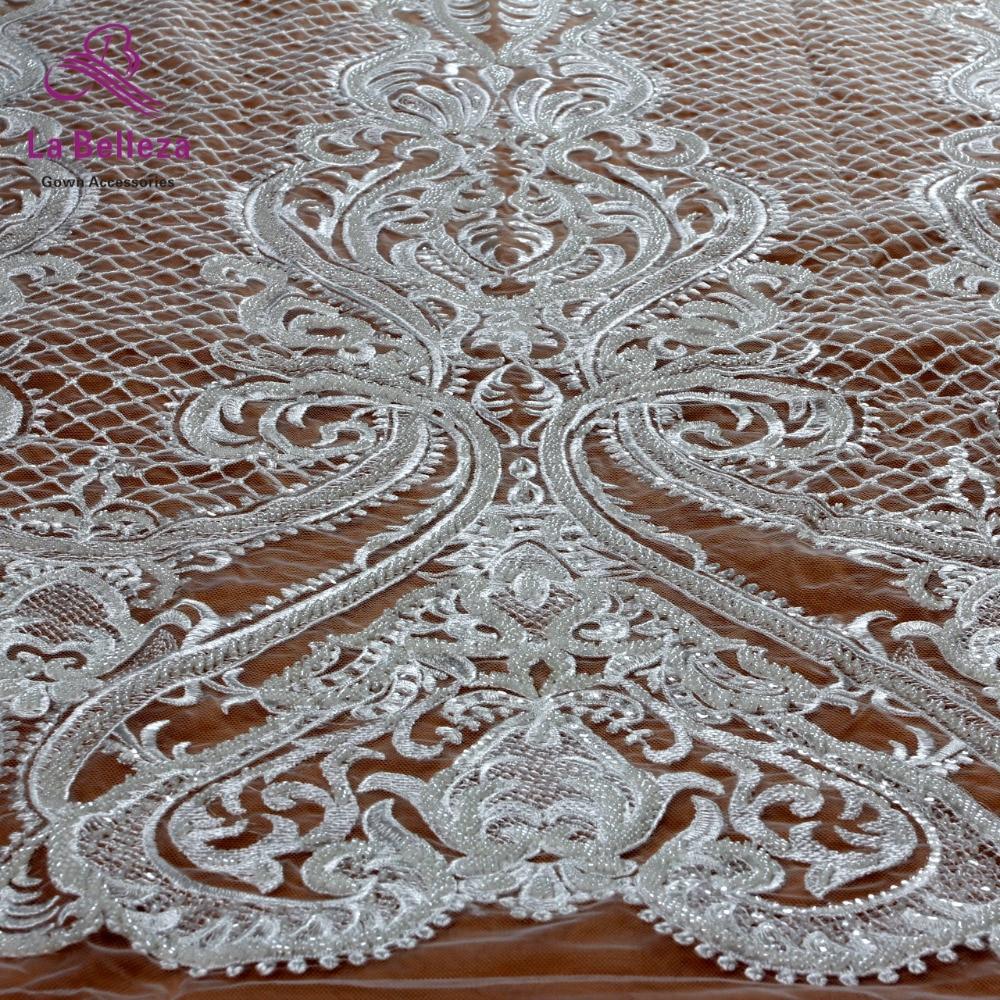 Di nuovo modo bianco di pizzo guipure pesante perline con paillettes su rete ricamato abito da sposa/abito da sera in pizzo tessuto da cantiere-in Pizzo da Casa e giardino su  Gruppo 1