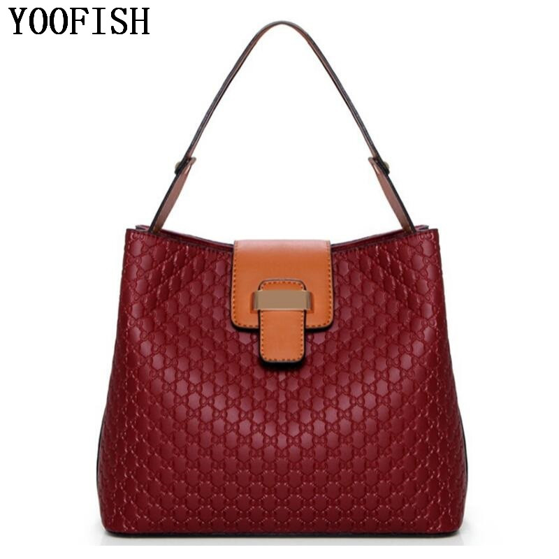 YOOFISH women Bags PU Leather Handbags Solid Tote casual Bolsas Female Ladies candy color Women hand Bags LJ-0704
