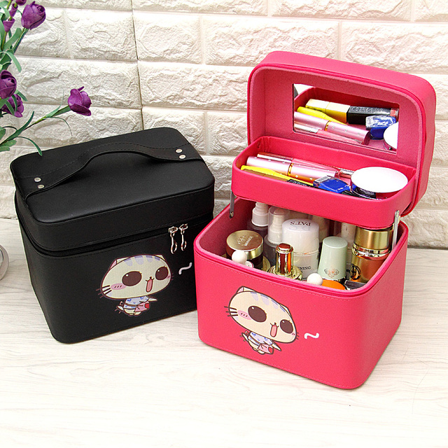 Professional Makeup Organizer Box Double Layer Cosmetic Cases Large  Capacity Cosmetic Storage Bag Travel Make Up