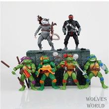 Envío libre, 6 unids/lote Teenage Mutant Ninja Turtles tmnt Modelo de Juguete Figura de Acción de 4 hecho a mano para el muchachos GiftHT705