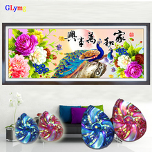 GLymg 5D Diy Diamond Painting Cross Stitch Peony Peacock Flowers Shaped Round Full Drill Embroidery Home Decor Picture