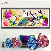 GLymg 5D Diy Diamond Painting Cross Stitch Peony Peacock Flowers Shaped Round Full Drill Diamond Embroidery Home Decor Picture