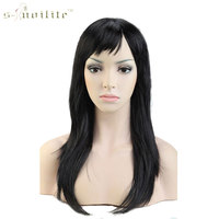 SNOILITE 20 Anime Cosplay Wig Synthetic Long Straight Halloween Costume Fancy Dress Party Wigs Black
