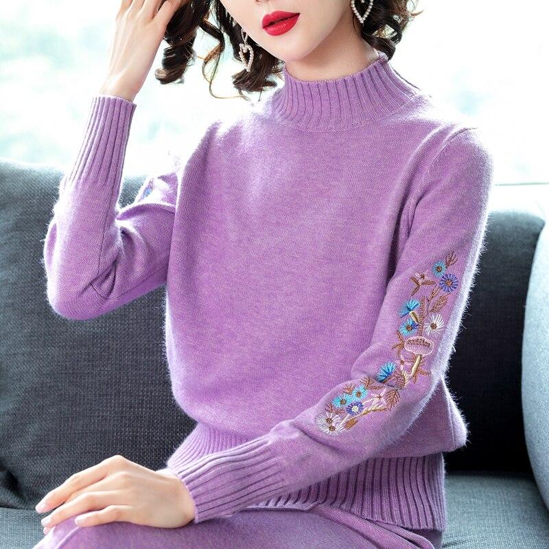 Chemise white Hiver Automne purple Tricot Vêtements A522 Lâche Femelle 2018 Chandail Femmes Demi Ensemble Blue La Manches Basant Longues col De À Haut Court Sauvage khaki qTFg5Sgn