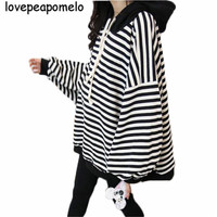 Women's Hoodies Spring And Autumn Loose Vintage Large Size Striped Sweatshirt Loose Big Size Batwing Sleeve Female Pullover J402