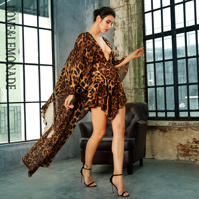 LOVE&LEMONADE  Deep V-Neck Open Back Cloak Style Leopard Chiffon Playsuit LM81381 3