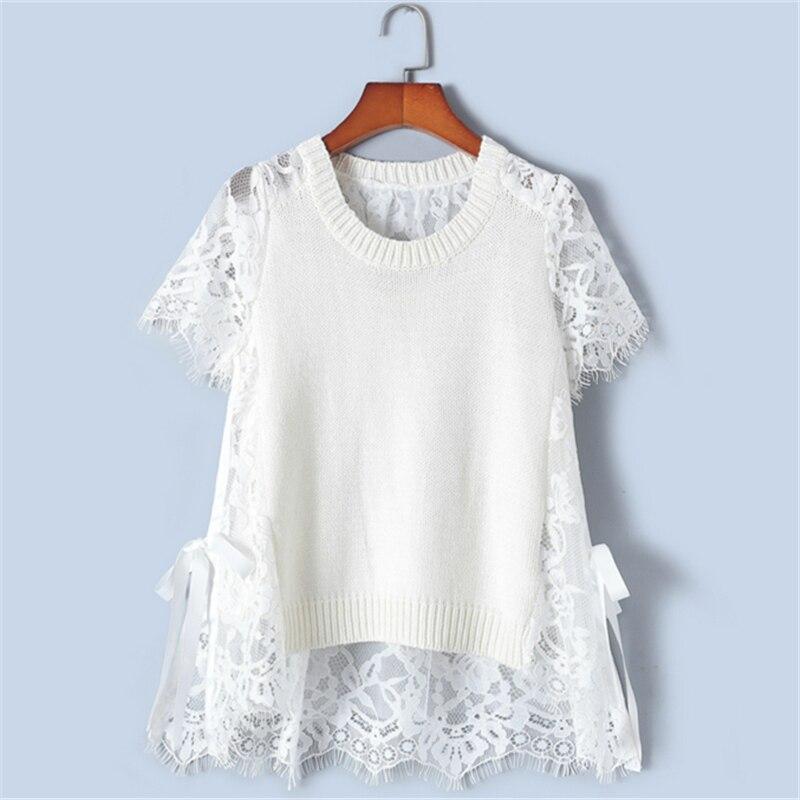 Camisetas de encaje elegantes delgadas con diseño de Tunjuefs Lolita delantera corta espalda larga para mujer verano-in Camisetas from Ropa de mujer    1
