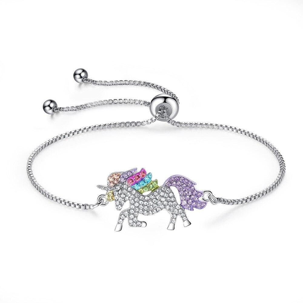 Милое ожерелье с единорогами, модные украшения в виде лошади из мультфильма, аксессуары для девочек, детские, женские вечерние браслеты с подвеской в виде животного - Окраска металла: Bracelet Silver