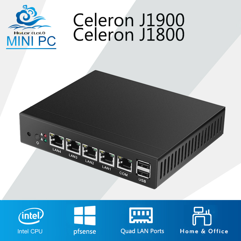 Mini PC Quad Core Tablet Fanless 4 LAN Router Firewall Celeron J1800 J1900 Windows 10/8/7 HTPC HD Graphics TV Box VGA 4 RJ45 hot sale celeron mini pc desktop computers dual lan mini pc x29 j1800 j1900 2 gigabit lan hdmi vga windows 7 win10 ubuntu