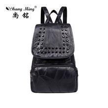 Shangming Новинка 2017 года модные женские туфли из искусственной кожи рюкзак многофункциональный softback Рюкзаки Женские портфели для девочек-подростков заклепки сумка