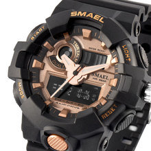 2018 Brand Army Sport Watch Smael Brand Wristwatches Fashion Casual Dual Time LED Clock Quartz 50 Meters Waterproof Black