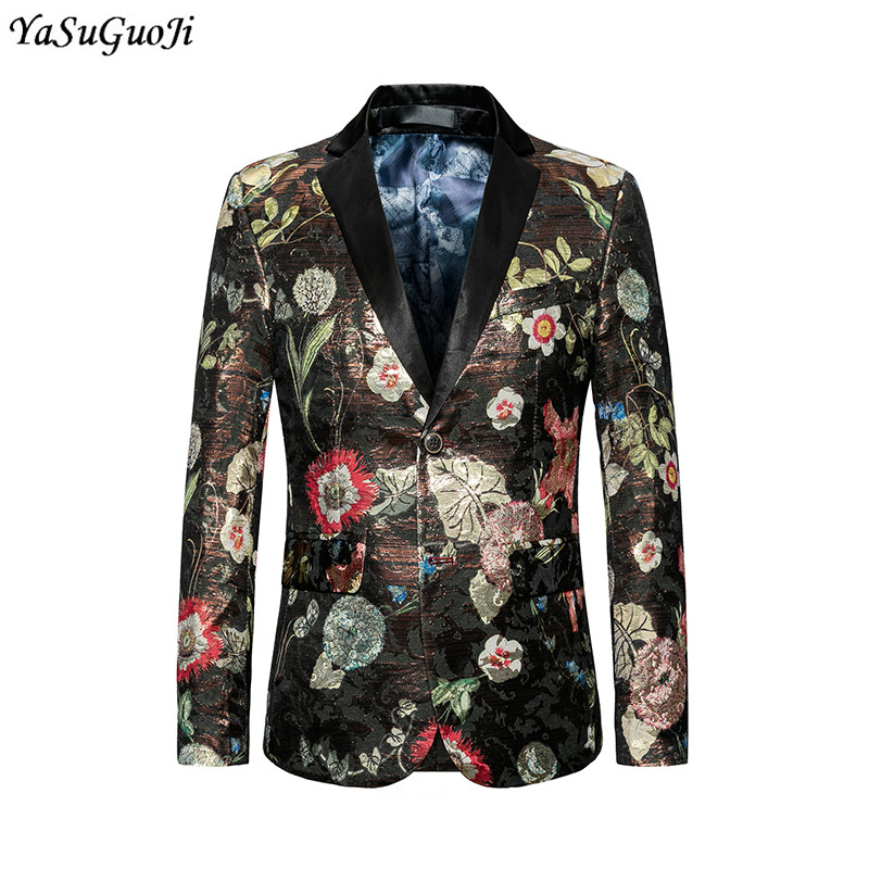New 2018 autumn europe and america style modern floral print slim fit blazer men wedding ...