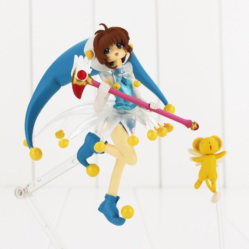 цены на 14cm Anime Cardcaptor Sakura Action Figure Sakura Kero With Magic Wand Figfix 008 Model Doll Collectible Toy в интернет-магазинах