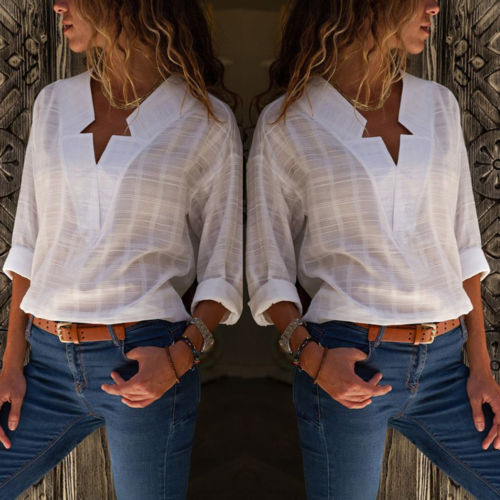 Summer Womens Ladies Loose Long Sleeve Casual   Blouse     Shirt   Tops Cotton Linen
